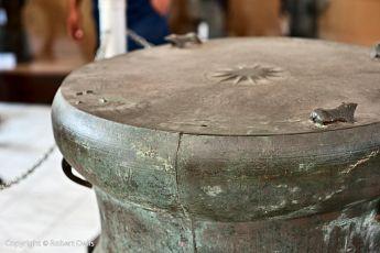 Ancient Dongson bronze drum at Kalabahi Museum, Alor