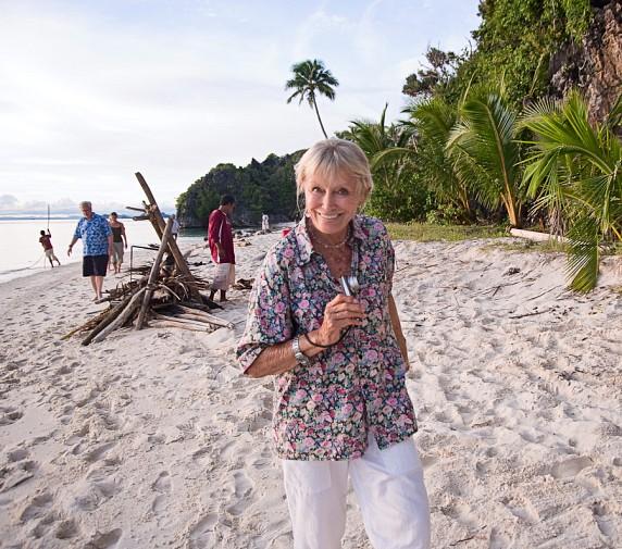 Valerie Taylor on a beach in Raja Ampat