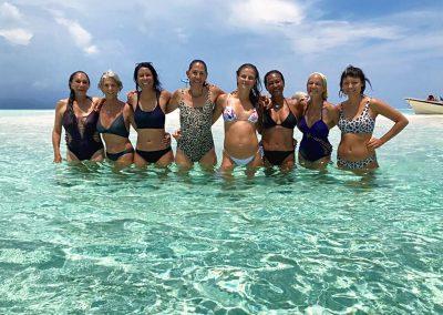 Anita, Atta, Mel, Soma, Carla, Latifa, Regina, Christina on the last beach (Kri) before going to Sorong